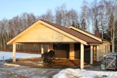Фото строительства гаража с навесом