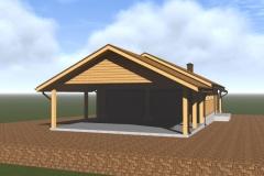 Проект гаража с навесом - визуализация