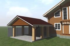 Отделка навеса и гаража - 3d модель дачного участка с домом