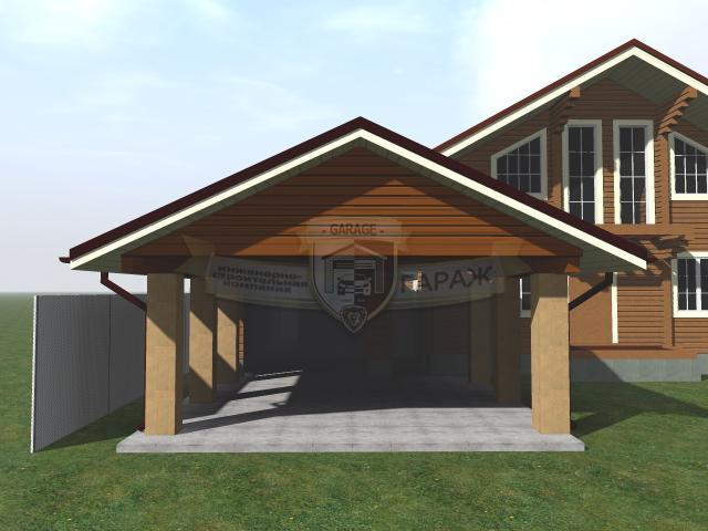 проект гаража с навесом и хозблоком - визуализация под ключ