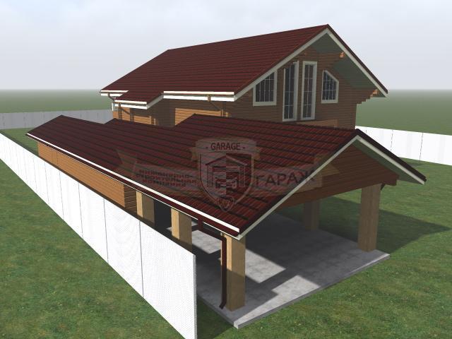 3d - модель гаража с навесом и дома на дачном участке