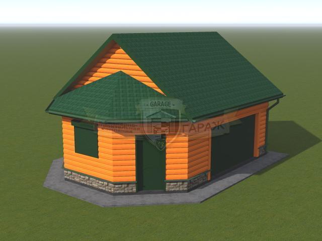 3d модель гаража с хозблоком и подвалом