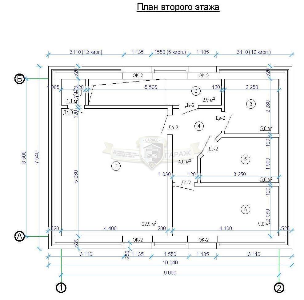 чертеж мансарды над гаражом - планировка помещений