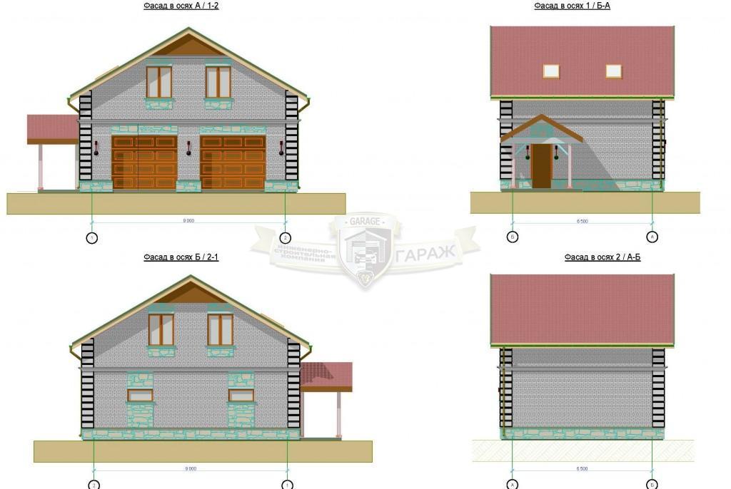 построить гараж по эскизному проекту - чертеж с фасадами