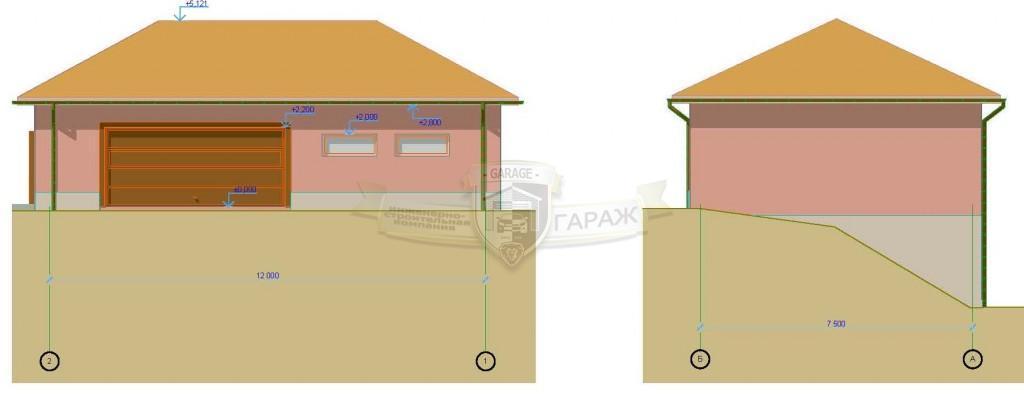 Построить гараж под ключ по проекту - главный фасад