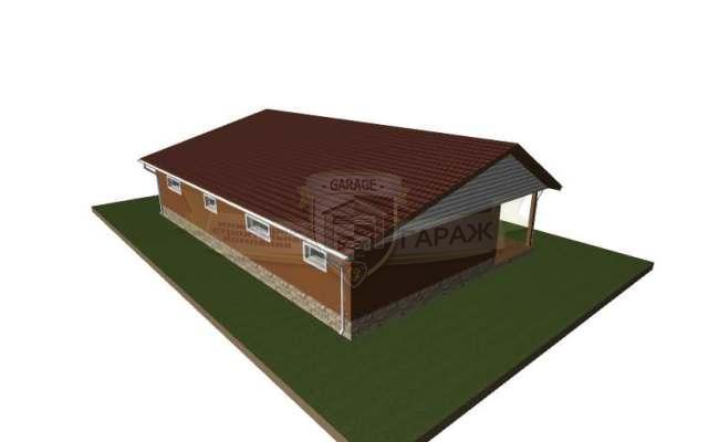 Трехмерка - гараж с отделочными материалами и кровлей