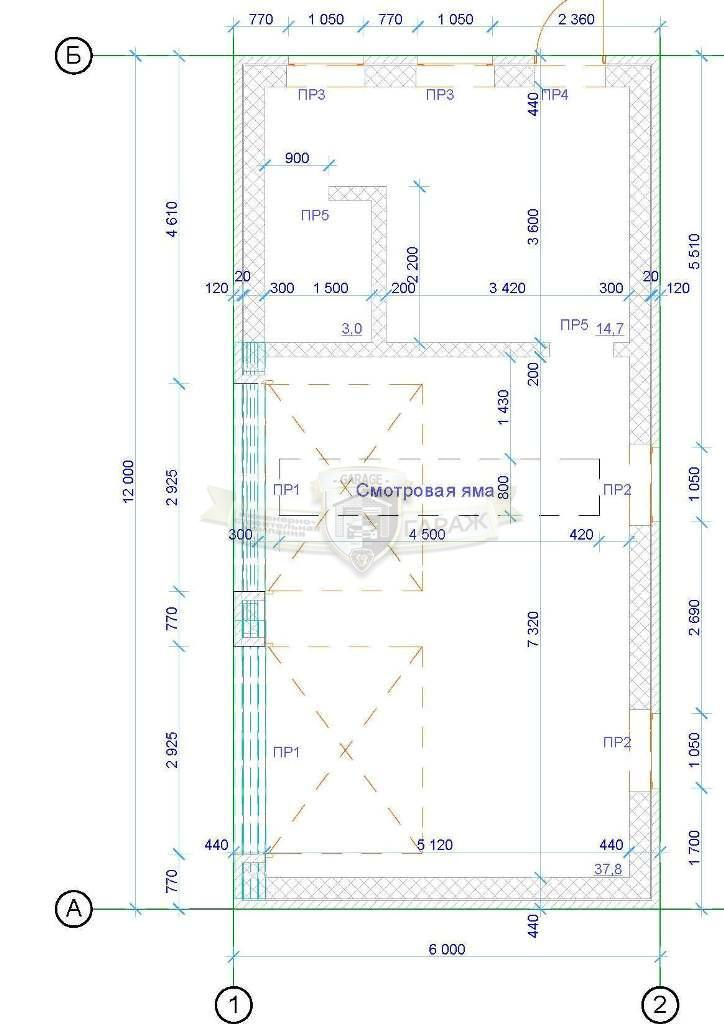 гараж с мастерской (хозблоком) - чертеж с планировкой