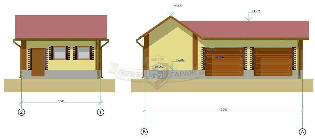 эскизный и рабочий проект - гараж на два машиноместа