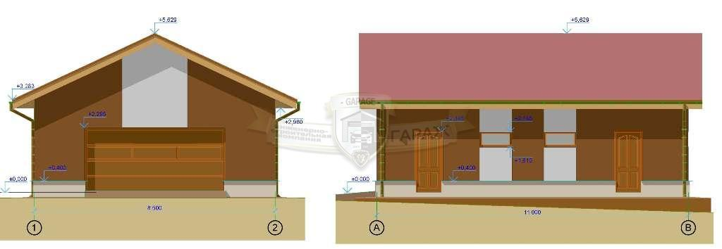 эскизный проект гаража - чертеж фасадов
