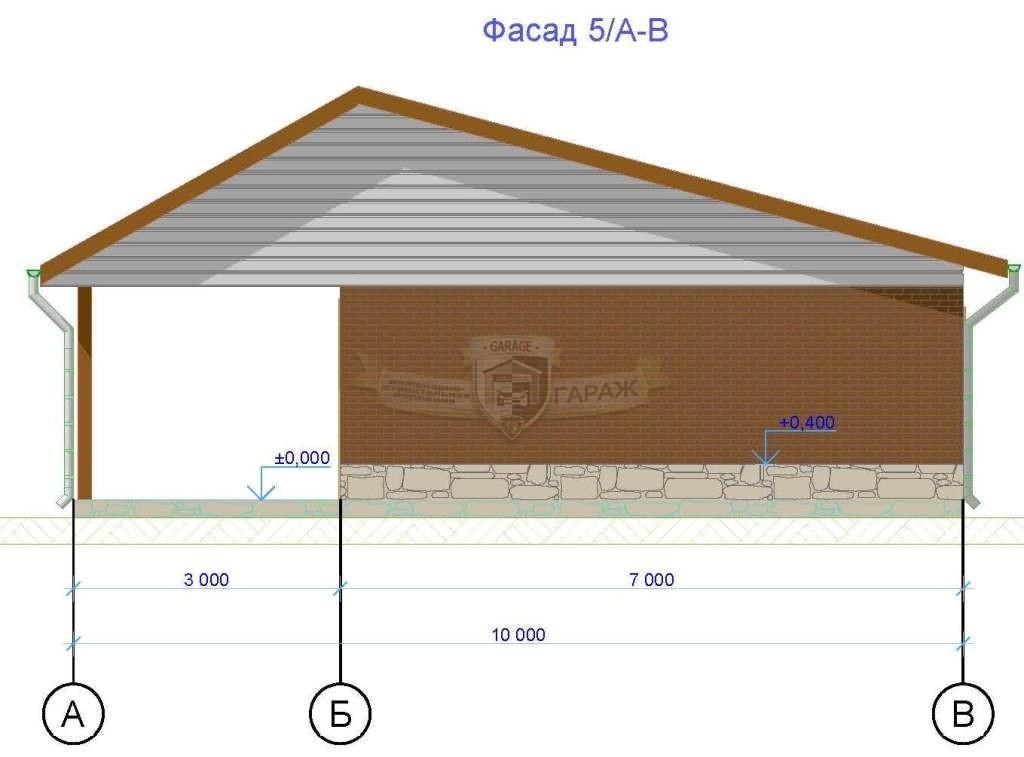 Боковой фасад гаража с асимметричной крышей