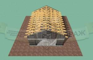 проект стропильной системы в 3d и на обычных чертежах с размерами