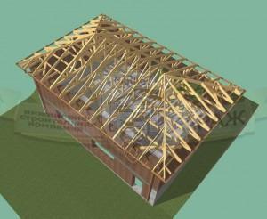 Стропильная система гаража с вальмовой крышей