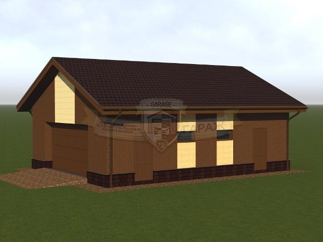 проект гаража с хозблоком в трехмерном виде