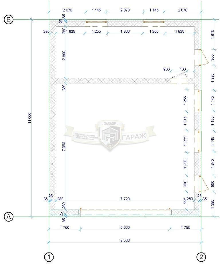 гараж проект - план первого этажа