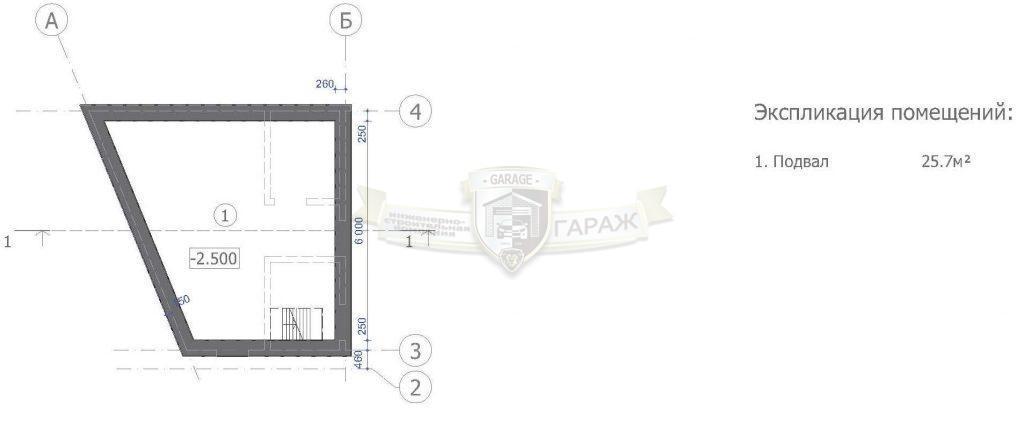 монолитный подвал гаража - план стен с размерами