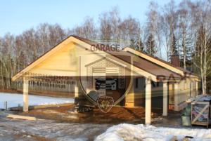 Строительство каркасного гаража с навесом и хозблоком