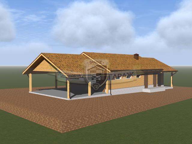 Проект каркасного гаража с навесом и хозблоком