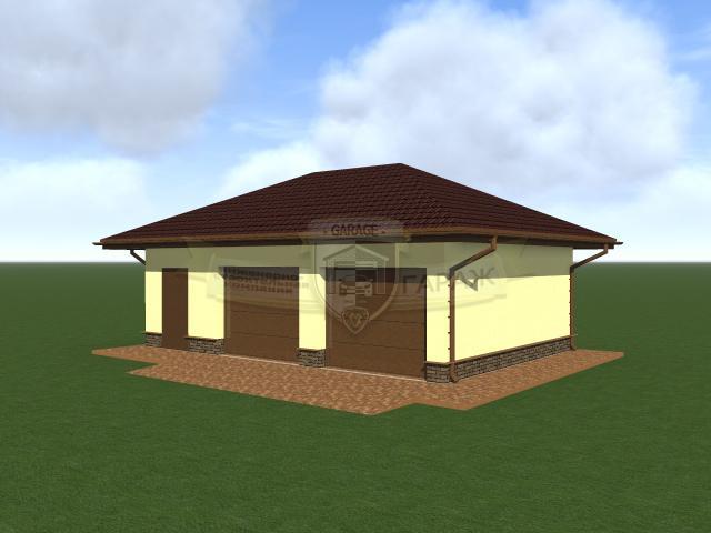 Строительство гаража с хозблоком, гараж на 2 авто, крыша - вальмовая. Проект в трехмерке