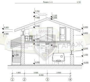 Архитектурный проект гаража с разрезами, фасадами, высотными отметками, размерами