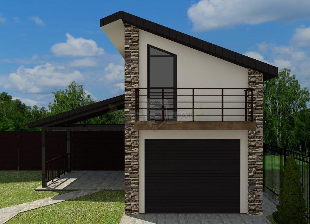 двухэтажный гараж с навесом - беседкой