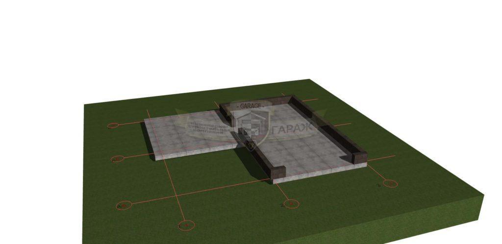 Монолитная плита и цоколь из бетонных блоков. Конструктив гаража