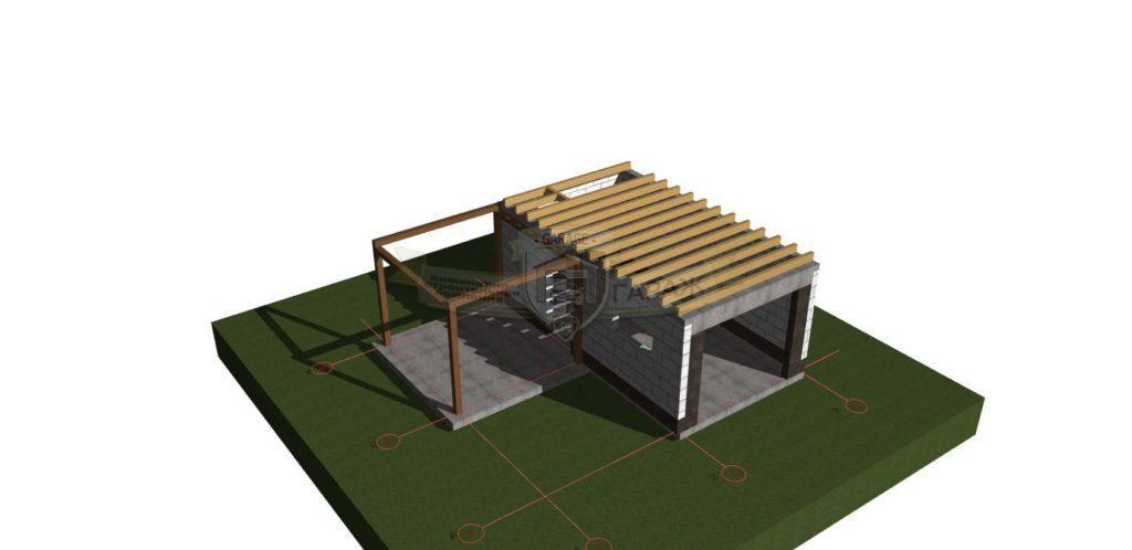 Каркас навеса и балки перекрытия деревянные. Проект конструкций гаража