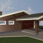 гараж с жилой зоной и навесом - проект и строительство